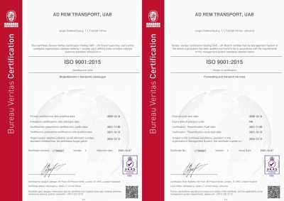 AD REM TRANSPORT renewed ISO 9001 sertificate